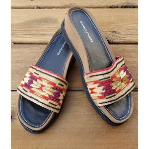 Donald J Pilner Slides Beaded Southwest Sandal 10M